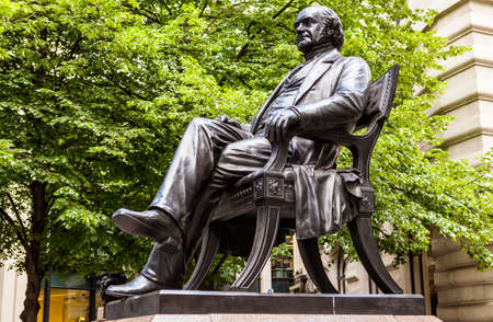 entrepeneur: Bronze statue of American-British entrepeneur George Peabody in the City of London.