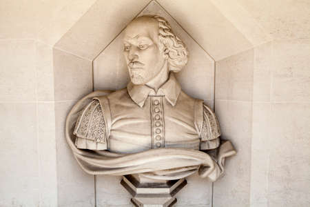 guildhall: A sculpture of famous playwright William Shakespeare situated outside Guildhall Art Gallery in London. Editorial