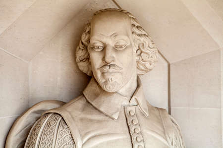A sculpture of famous playwright William Shakespeare situated outside Guildhall Art Gallery in London. Editorial