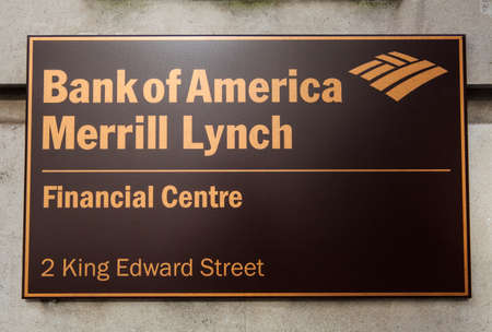 king street: LONDON, UK - JUNE 7TH 2015: A sign on the Bank of America Merrill Lynch building located on King Edward Street in the City of London, on 7th June 2015. Editorial