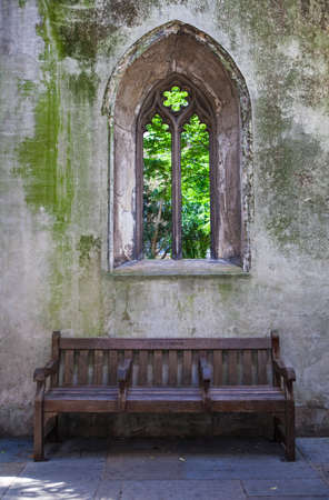 eventually: Looking through the remains of St. Dunstan-in-the-East church in the City of London.  The church was badly damaged during the Blitz in 1941 and was eventually transformed into a public garden.