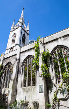 bombings: The ruins of the historic St. Dunstan-in-the-East church in the City of London.  The church was destroyed during enemy action in 1941 and has since been turned into a public garden.