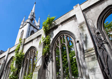 bombings: The ruins of the historic St. DunstanintheEast church in the City of London.  The church was destroyed during enemy action in 1941 and has since been turned into a public garden.