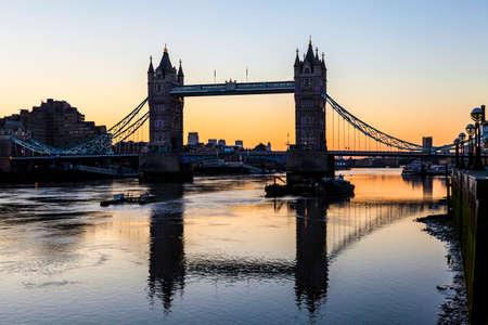 sun rise: Tower Bridge sillhouetted by a sun rise in London.