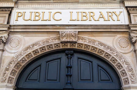 library: Public Library sign on the former Holborn Public Library in London.
