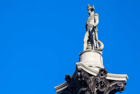 admiral: The statue of Admiral Horatio Nelson proudly sitting on top of Nelson's Column in London.