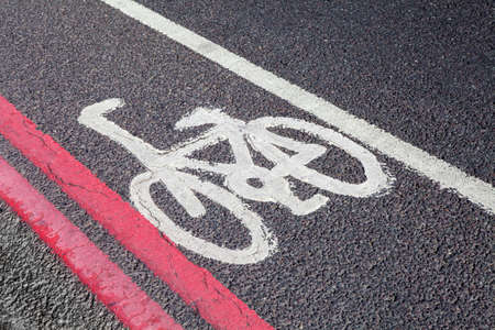 road cycling: A Cycle Lane in central London.