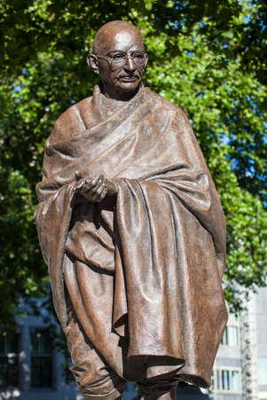 Statue of historic leader Mahatma Gandhi in Parliament Square, London.