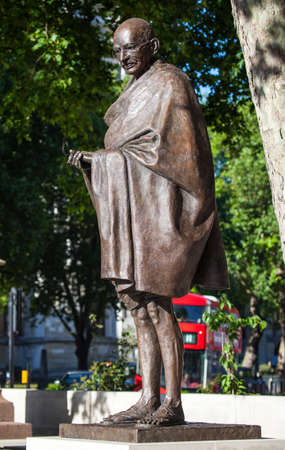 parliament square: Statue of historic leader Mahatma Gandhi in Parliament Square, London.
