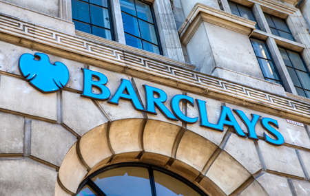 plc: LONDON, UK - 30TH JULY 2015: The sign for a Barclays Bank outlet on Fleet Street in London, on 30th July 2015.