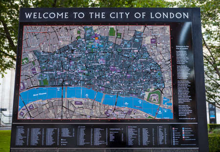 places of interest: LONDON, UK - JUNE 29TH 2015: A sign detailing places of interest and  welcoming visitors to the City of London, on 29th June 2015.