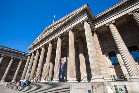 british museum: LONDON, UK - JUNE 30TH 2015: The magnificent exterior of the British Museum in London, on 30th June 2015.