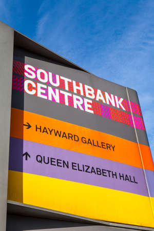 southbank: LONDON, UK - JULY 6TH 2015: A sign at the Southbank Centre for the Haywood Gallery and Queen Elizabeth Hall in London, on 6th July 2015. Editorial