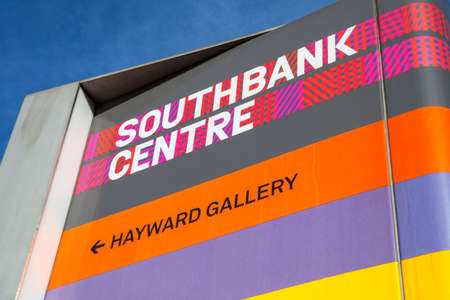 southbank: LONDON, UK - JULY 6TH 2015: A sign for the Southbank Centre and Haywood Gallery in London, on 6th July 2015.