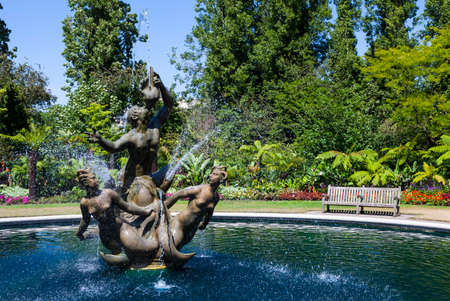 public park: The historic Triton fountain in Regents Park, London.