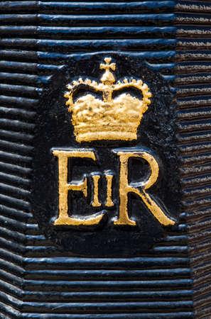 bollard: The Royal Crest on a London Bollard. Editorial