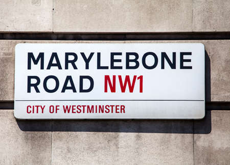 streetsign: LONDON, UK - JULY 10TH 2015: A street sign for Marylebone Road in the City of Westminster, London on 10th July 2015. Editorial