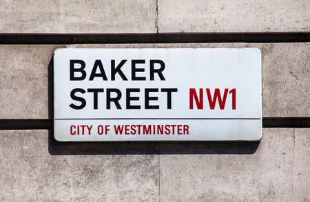 streetsign: LONDON, UK - JULY 10TH 2015: A street sign for Baker Street in the City of Westminster, London on 10th July 2015.