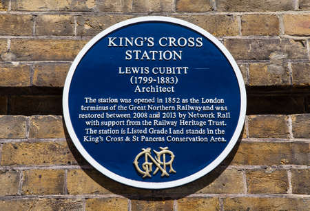 blue plaque: A blue plaque at Kings Cross Station marking the achievements of architect Lewis Cubitt who originally designed the station.