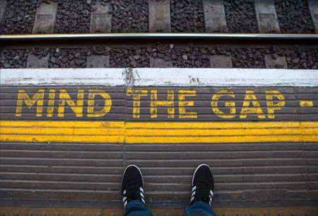 Mind the Gap painted on a tube platform in central London.