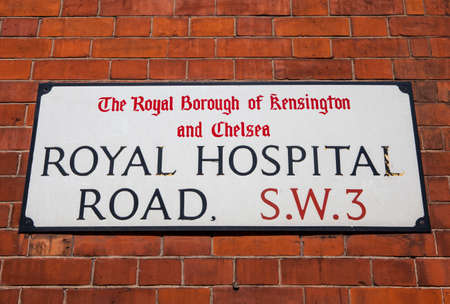 streetsign: LONDON, UK - JULY 10TH 2015: A street sign for Royal Hospital Road in Chelsea, London on 10th July 2015.