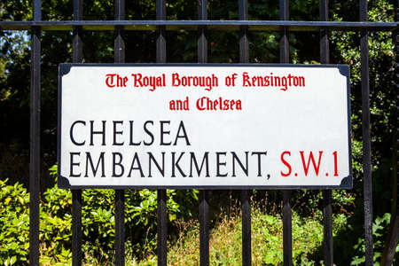 chelsea: LONDON, UK - JULY 10TH 2015: A street sign for Chelsea Embankment in London, on 10th July 2015. Editorial