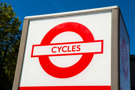 super highway: LONDON, UK - JULY 10TH 2015: A sign marking the location of a Cycle Hire station in central London on 10th July 2015.