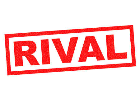rival: RIVAL red Rubber Stamp over a white background.