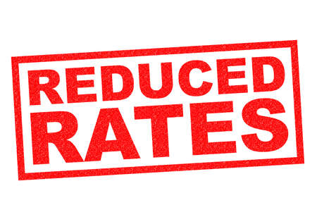 rates: REDUCED RATES red Rubber Stamp over a white background.