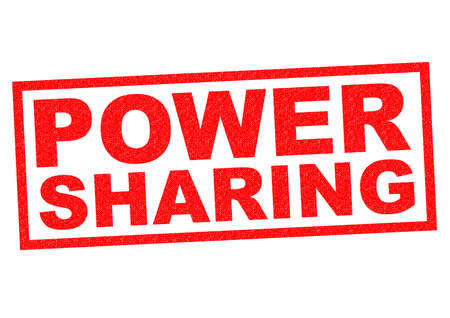 team effort: POWER SHARING red Rubber Stamp over a white background.