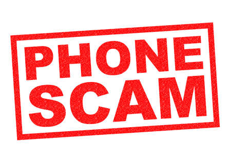 hoax: PHONE SCAM red Rubber Stamp over a white background.