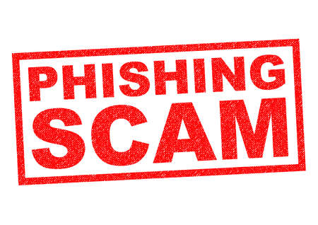 rip off: PHISHING SCAM red Rubber Stamp over a white background.