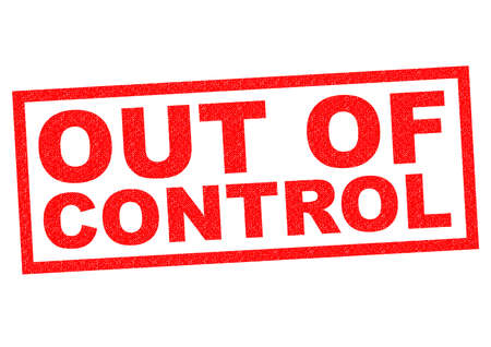 rebellious: OUT OF CONTROL red Rubber Stamp over a white background. Stock Photo