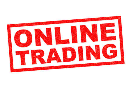 online trading: ONLINE TRADING red Rubber Stamp over a white background.
