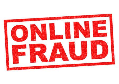 fraudster: FRODE ONLINE gomma rosso timbro su uno sfondo bianco. Archivio Fotografico