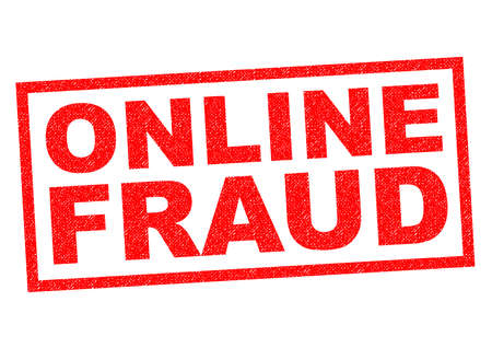 extortion: ONLINE FRAUD red Rubber Stamp over a white background.