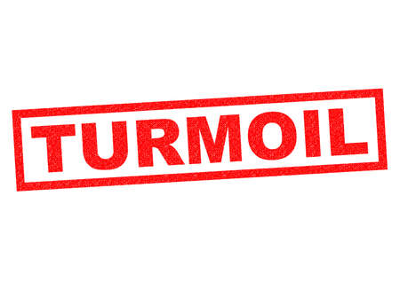 commotion: TURMOIL red Rubber Stamp over a white background.