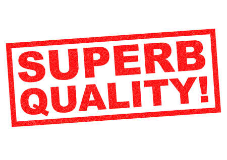 superb: SUPERB QUALITY! red Rubber Stamp over a white background.