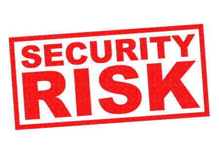 unprotected: SECURITY RISK red Rubber Stamp over a white background. Stock Photo