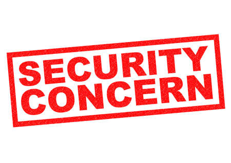 concerning: SECURITY CONCERN red Rubber Stamp over a white background.