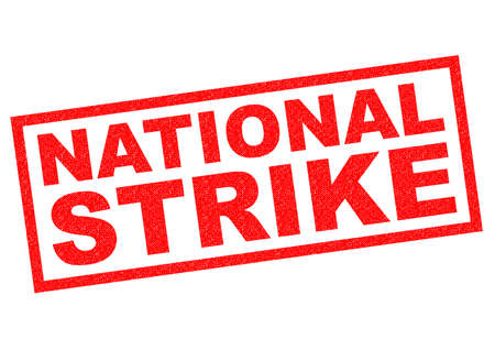 stopped: NATIONAL STRIKE red Rubber Stamp over a white background. Stock Photo