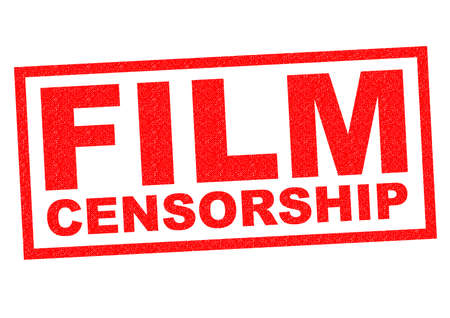 censoring: FILM CENSORSHIP red Rubber Stamp over a white background. Stock Photo