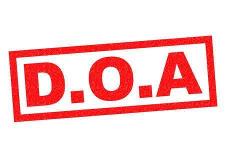 sudden death: D.O.A red Rubber Stamp over a white background.