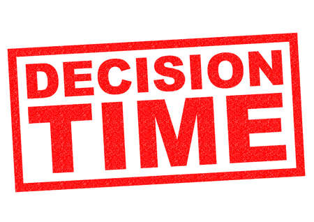 ruling: DECISION TIME red Rubber Stamp over a white background. Stock Photo