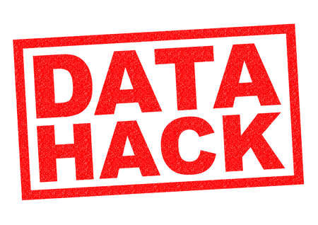 hack: DATA HACK red Rubber Stamp over a white background. Stock Photo