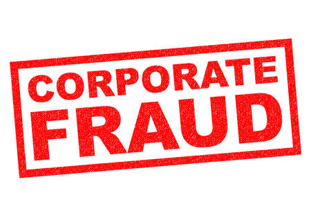 illegal trading: CORPORATE FRAUD red Rubber Stamp over a white background.