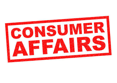 affairs: CONSUMER AFFAIRS red Rubber Stamp over a white background.