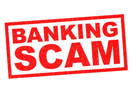 scam: BANKING SCAM red Rubber Stamp over a white background. Stock Photo