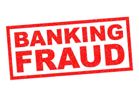 fraudster: BANKING FRAUD red Rubber Stamp over a white background. Stock Photo