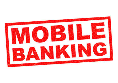 mobile banking: MOBILE BANKING red Rubber Stamp over a white background.